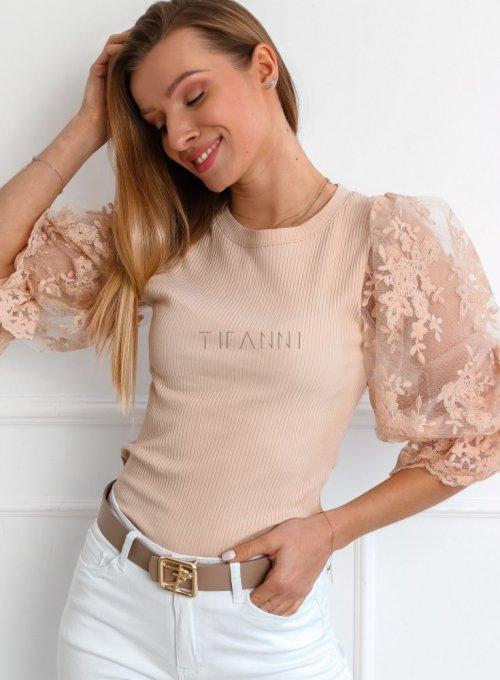 Beżowa bluzka z bufiastymi koronkowymi rękawami