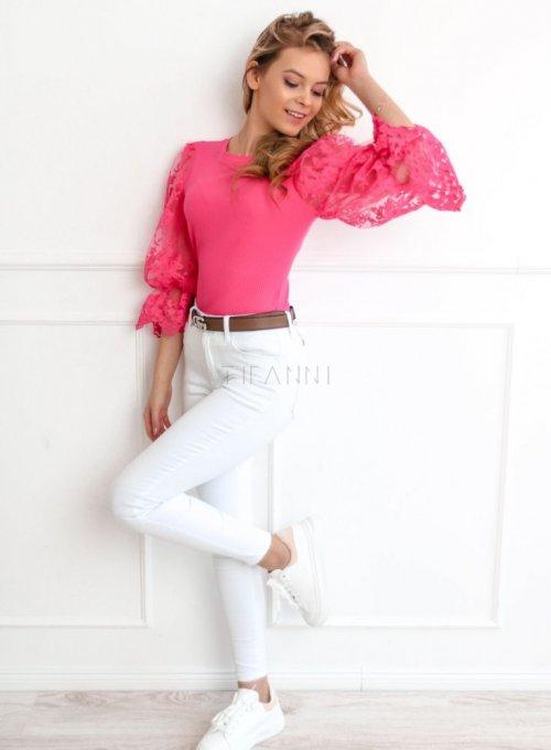 Bluzka z bufiastymi koronkowymi rękawami w kolorze fuksji 4