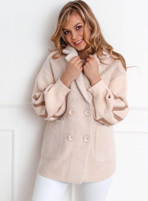 Płaszcz alpaka kremowy - DOXA