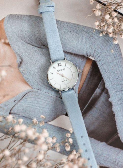 Zegarek Ernesto #01, pasek z kolorze błękitnym
