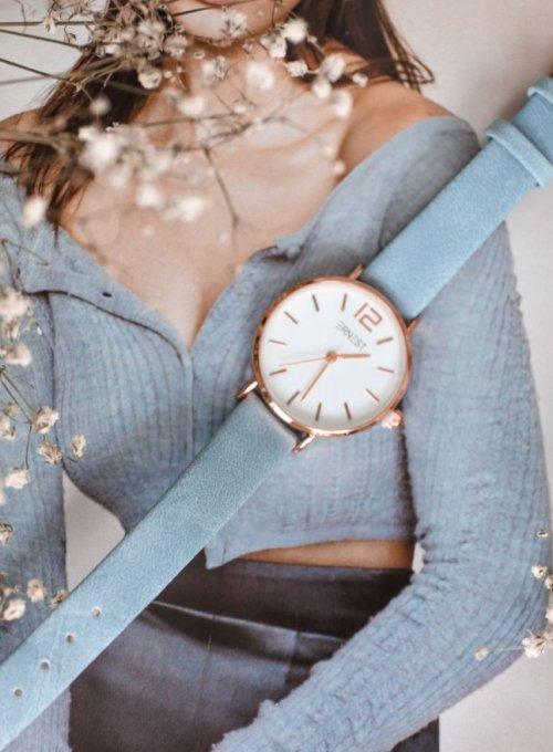 Zegarek Ernesto #01, pasek z kolorze błękitnym 4