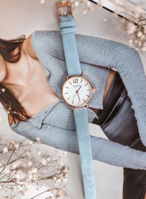 Zegarek Ernesto #01, pasek z kolorze błękitnym 5