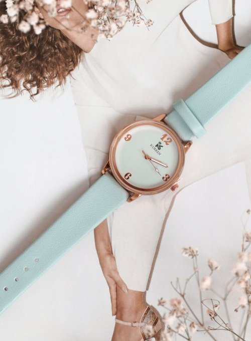 Zegarek Ernesto #04, pasek z kolorze miętowym