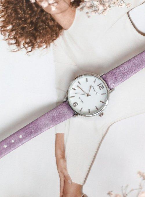Zegarek Ernesto #06, pasek z kolorze liliowym 2