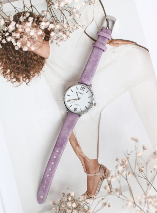 Zegarek Ernesto #06, pasek z kolorze liliowym 3