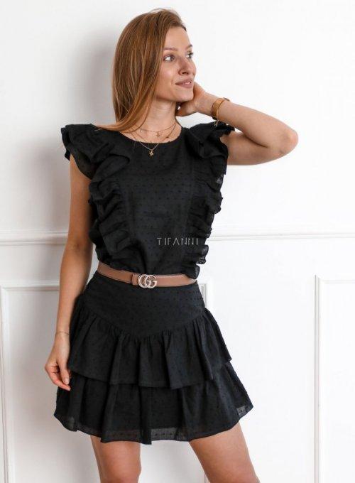 Komplet bluzka ze spódnicą Medelin czarny