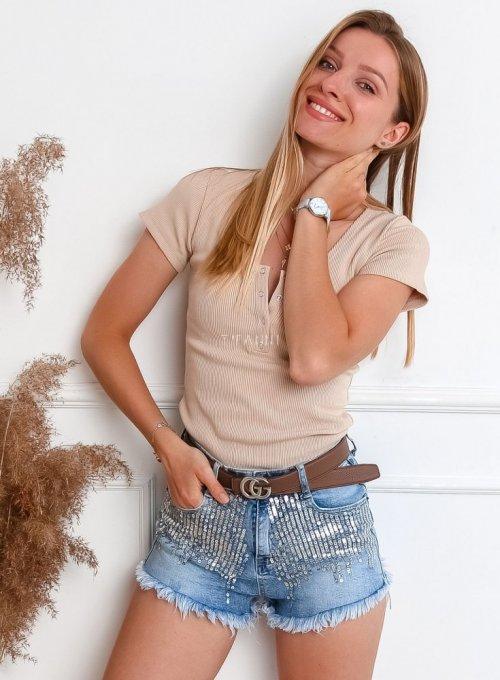 Szorty jeansowe z cekinami 1