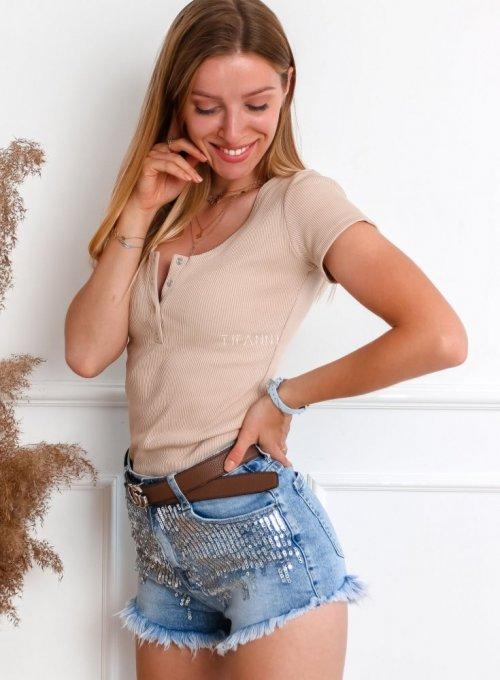 Szorty jeansowe z cekinami 4