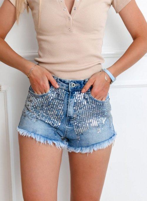 Szorty jeansowe z cekinami 5