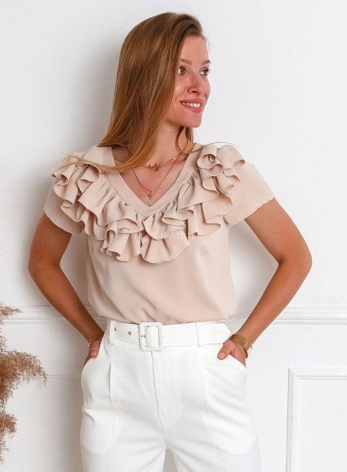 Bluzka z żabotem Palermo w kolorze beżowym