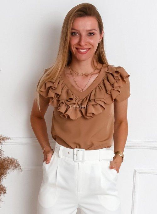 Bluzka z żabotem Palermo w kolorze nude