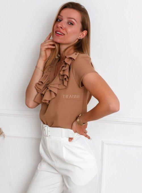 Bluzka z żabotem Palermo w kolorze nude 2