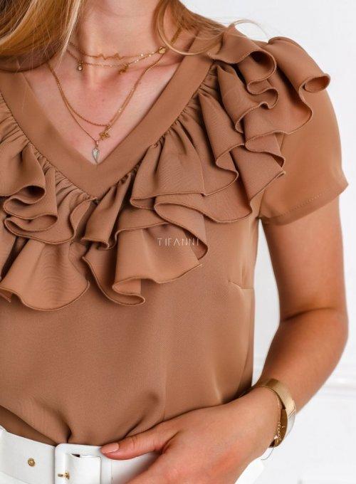 Bluzka z żabotem Palermo w kolorze nude 1