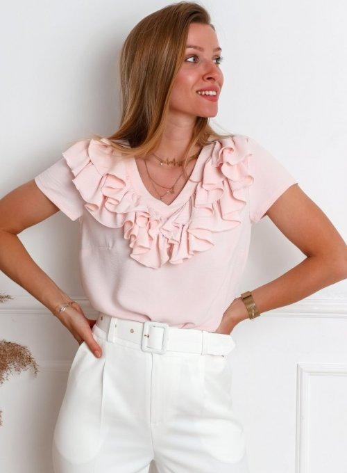 Bluzka z żabotem Palermo w kolorze pudrowym
