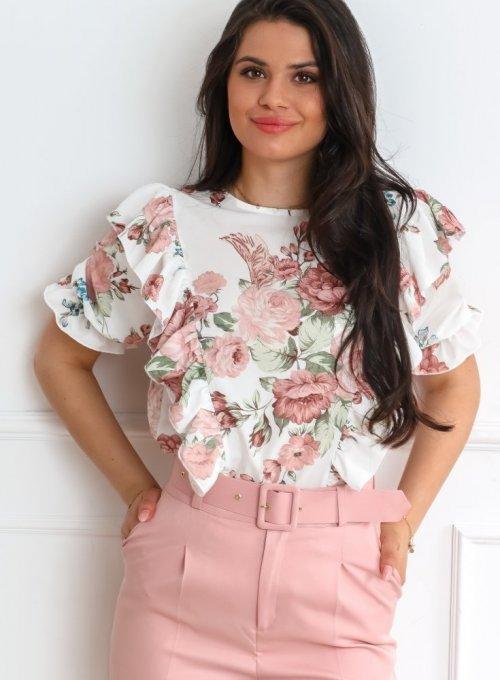 Bluzka Menfi śmietankowa w kwiatki 2