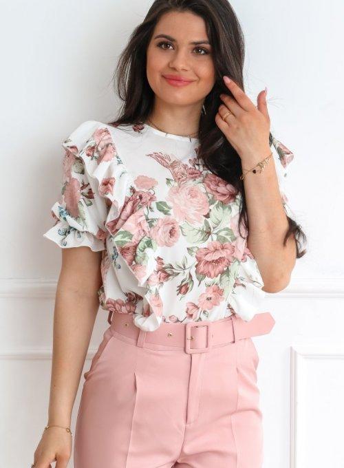 Bluzka Menfi śmietankowa w kwiatki 3