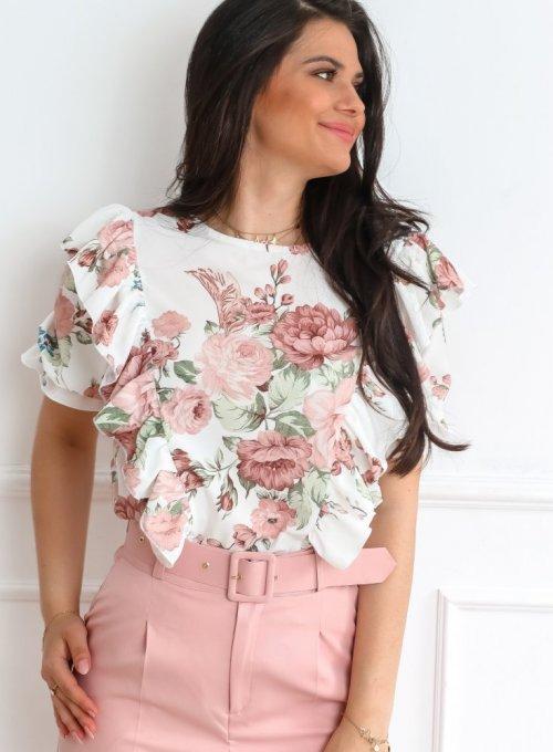 Bluzka Menfi śmietankowa w kwiatki 4