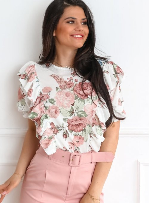 Bluzka Menfi śmietankowa w kwiatki 5