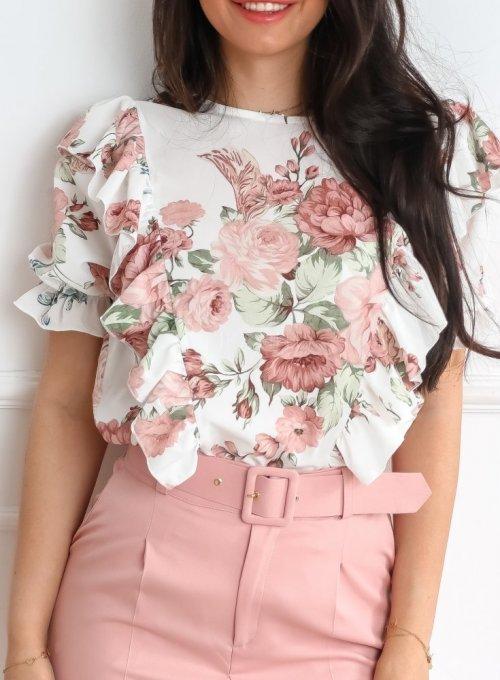 Bluzka Menfi śmietankowa w kwiatki 6