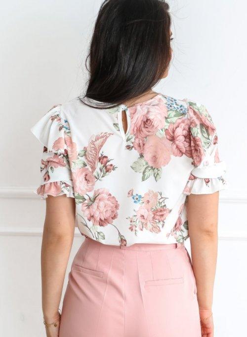 Bluzka Menfi śmietankowa w kwiatki 7
