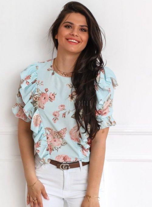 Bluzka Menfi miętowa w kwiatki 2
