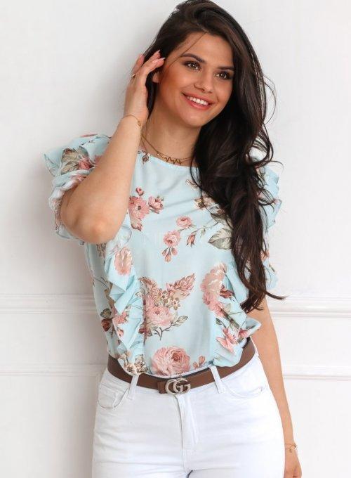 Bluzka Menfi miętowa w kwiatki 3
