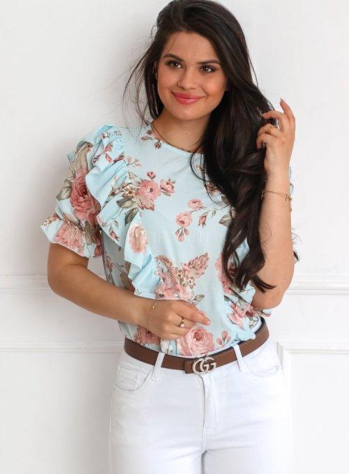 Bluzka Menfi miętowa w kwiatki 4