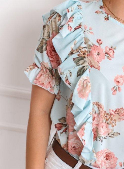 Bluzka Menfi miętowa w kwiatki 5