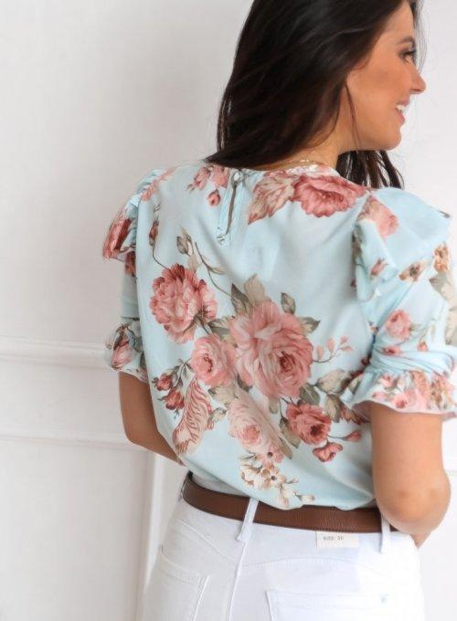 Bluzka Menfi miętowa w kwiatki 6