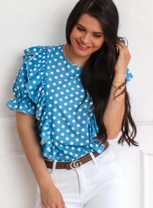 Bluzka Menfi niebieska w groszki 2