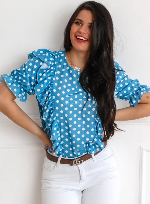 Bluzka Menfi niebieska w groszki 1