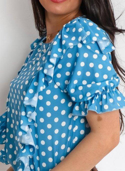 Bluzka Menfi niebieska w groszki 3