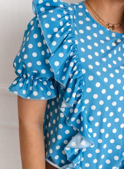 Bluzka Menfi niebieska w groszki 4