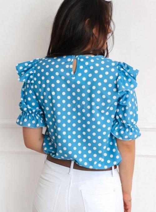 Bluzka Menfi niebieska w groszki 5