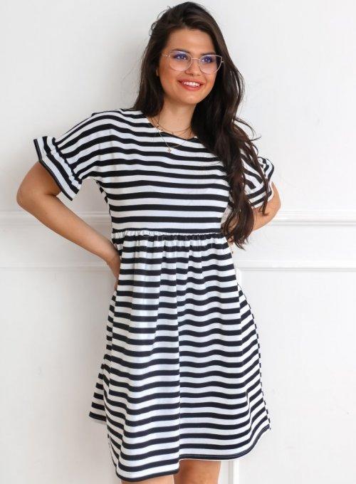 Sukienka Riesi w biało czarne paski