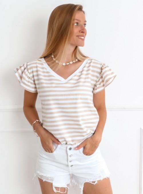 T-shirt Ritz beżowy 2