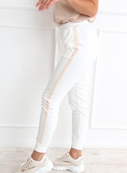 Spodnie z lampasem w kolorze śmietankowym