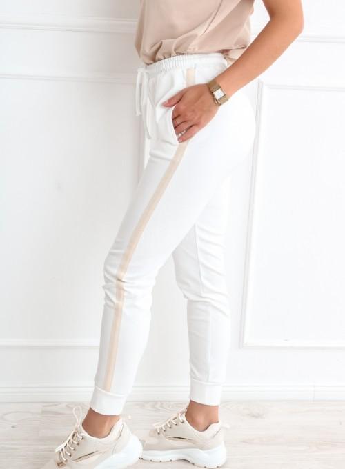Spodnie z lampasem w kolorze śmietankowym 7