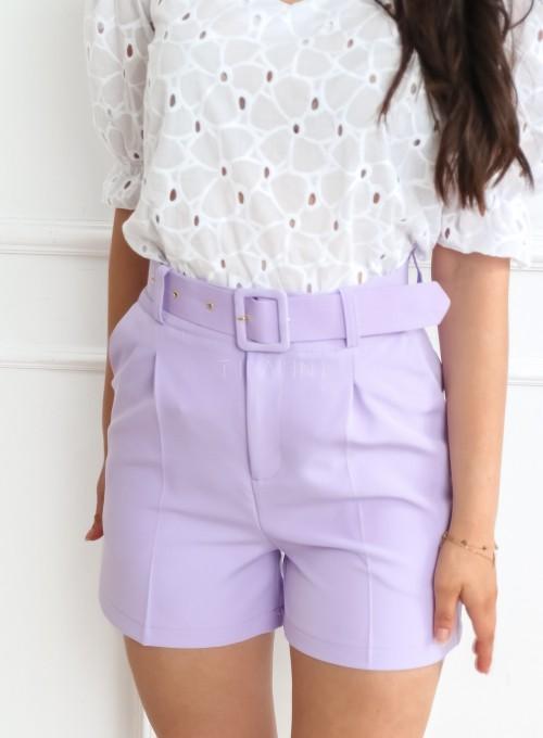Eleganckie szorty z wysokim stanem liliowe