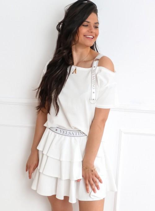 Komplet bluzka ze spódnicą Mija śmietankowa