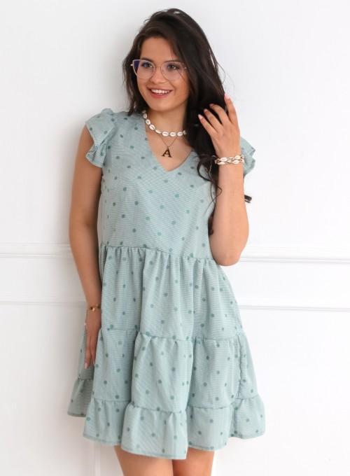 Sukienka w groszki Linz zielona