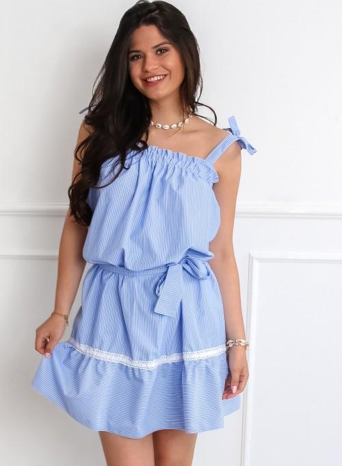 Sukienka oversizowa Flori błękitna