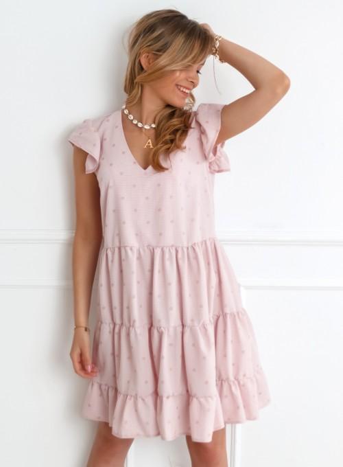 Sukienka w groszki Linz pudrowa