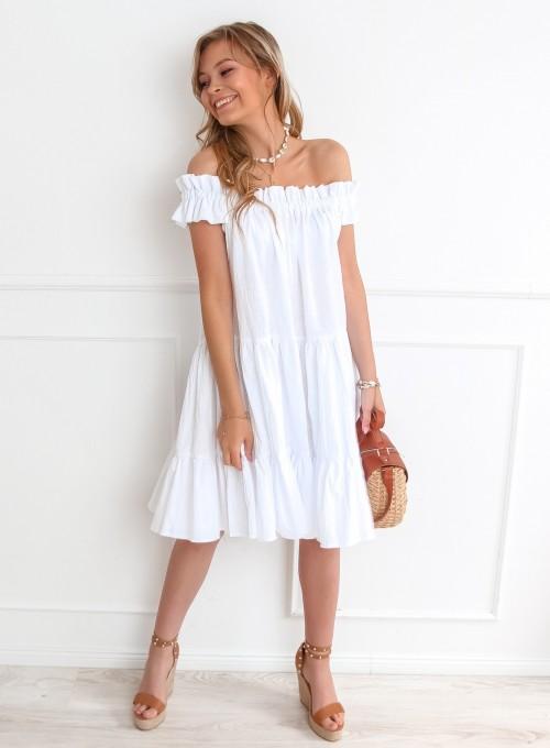 Sukienka hiszpanka Debra w kolorze białym 4