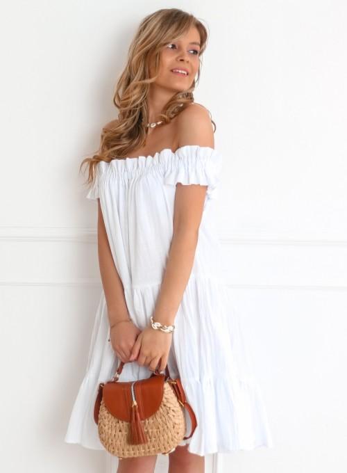 Sukienka hiszpanka Debra w kolorze białym 5
