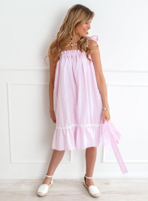 Sukienka oversizowa Flori pudrowa 1