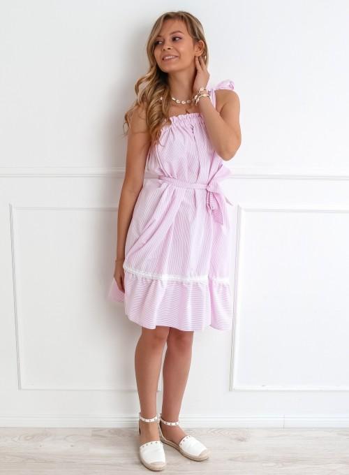 Sukienka oversizowa Flori pudrowa 3