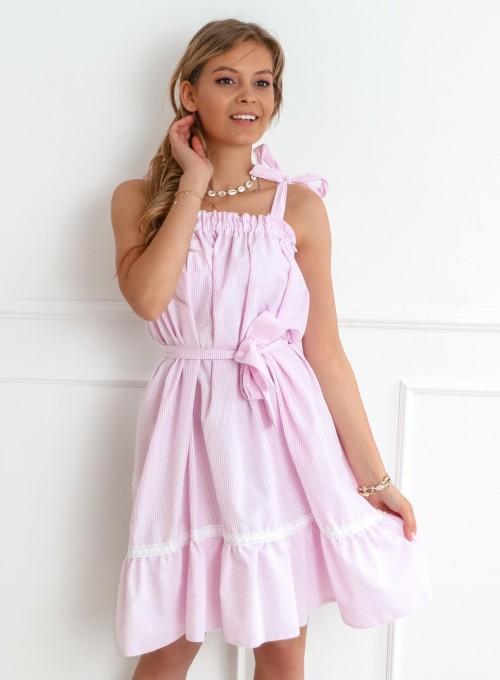 Sukienka oversizowa Flori pudrowa 4