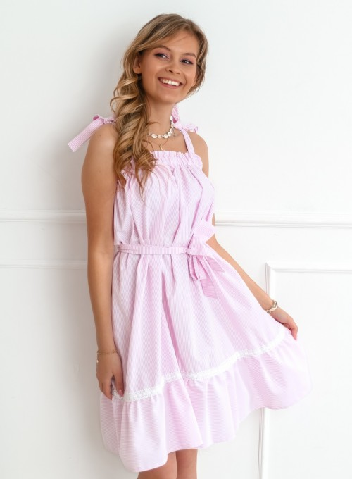 Sukienka oversizowa Flori pudrowa 5