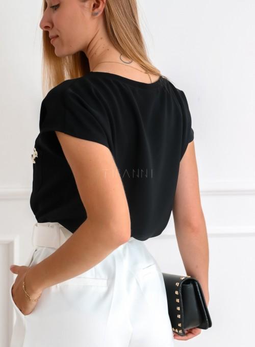 Bluzka z dekoltem w serek w kolorze czarnym - ROXI 4